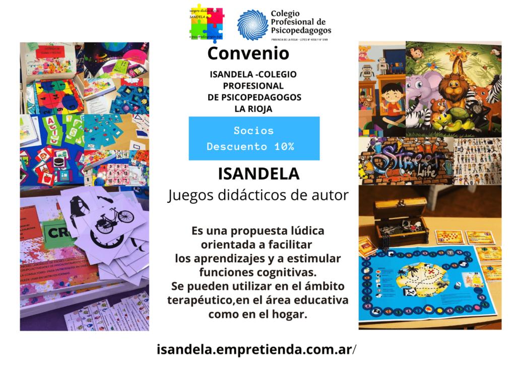convenio ENTRE  ISANDELA Y EL COLEGIO PROFESIONAL DE PSICOPEDAGOGOS DE LA RIOJA.